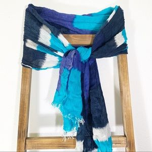 Scarf Color Block Turquoise Navy White Long